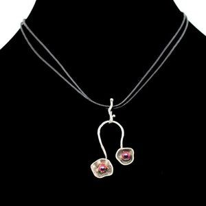STERLING SILVER PENDANT W/ DBL LEATHER NECKLACE
